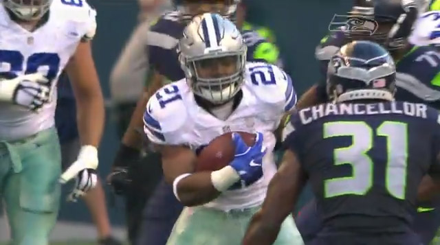 Ezekiel Elliot debut… 7 carries for 48 yards. Looks strong.
